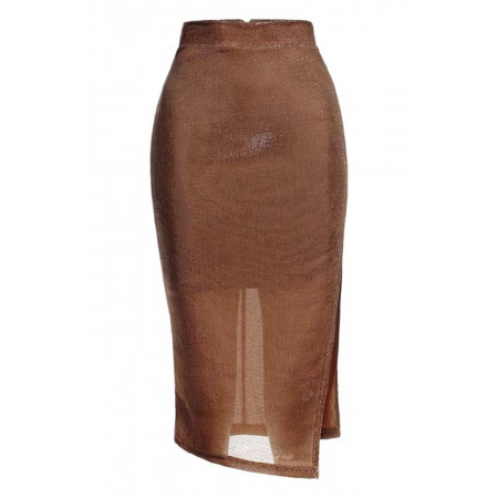 Bronze Sparkle Midi Skirt