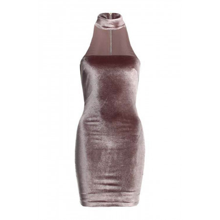 Choker Collar Velvet Dress
