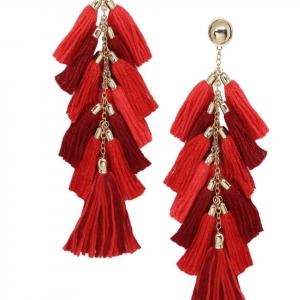 Ettika Red Tassel Earrings