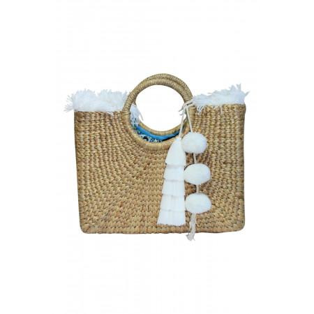 Square Basket White Fringe and Tassel