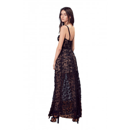 For Love and Lemons Black Beatrice Strappy Maxi Dress