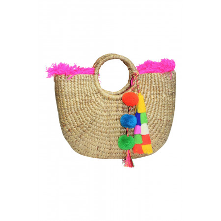 Pink Round basket with fringe