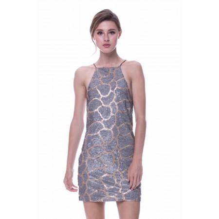 Halter Neck Sequin Mini Dress