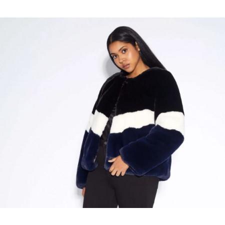 Brigitte Colorblock Faux Fur Jacket