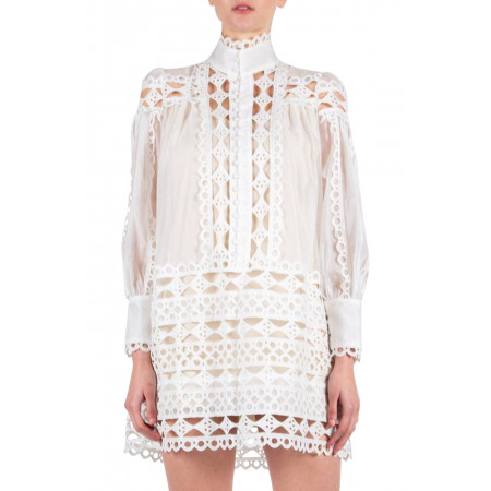 Beulah Style Eyelet Lace Tunic Dress