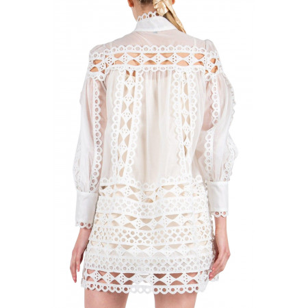 Beulah Style Eyelet Lace Tunic Dress - Back
