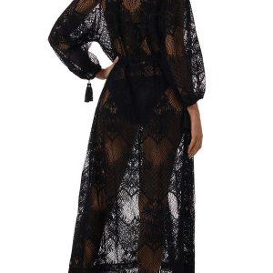 Melissa Odabash Yasmin Kaftan in black sheer lace